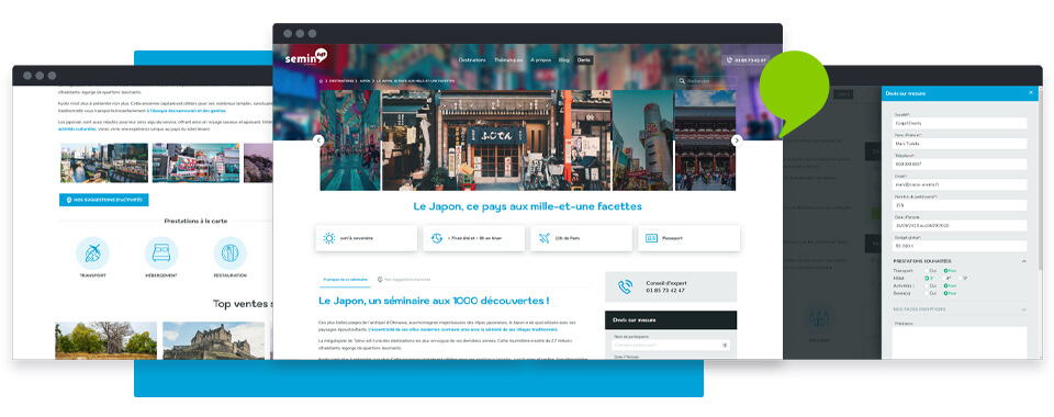 interface fiche destination